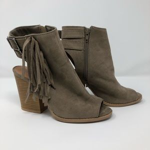 Qupid ankle fringe boots with buckle detail